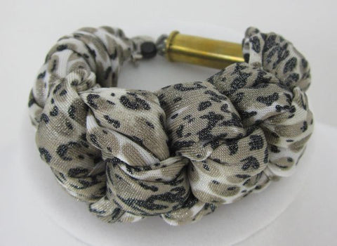 Braided Fabric Bracelet - Spotted - Big