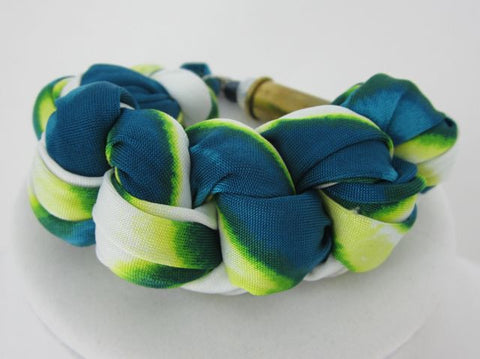 Braided Fabric Bracelet - Green - Big