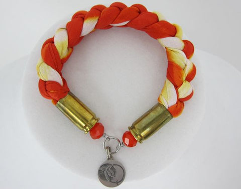 Braided Fabric Bracelet - Orange - Small
