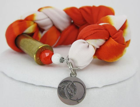 Braided Fabric Bracelet - Orange - Big