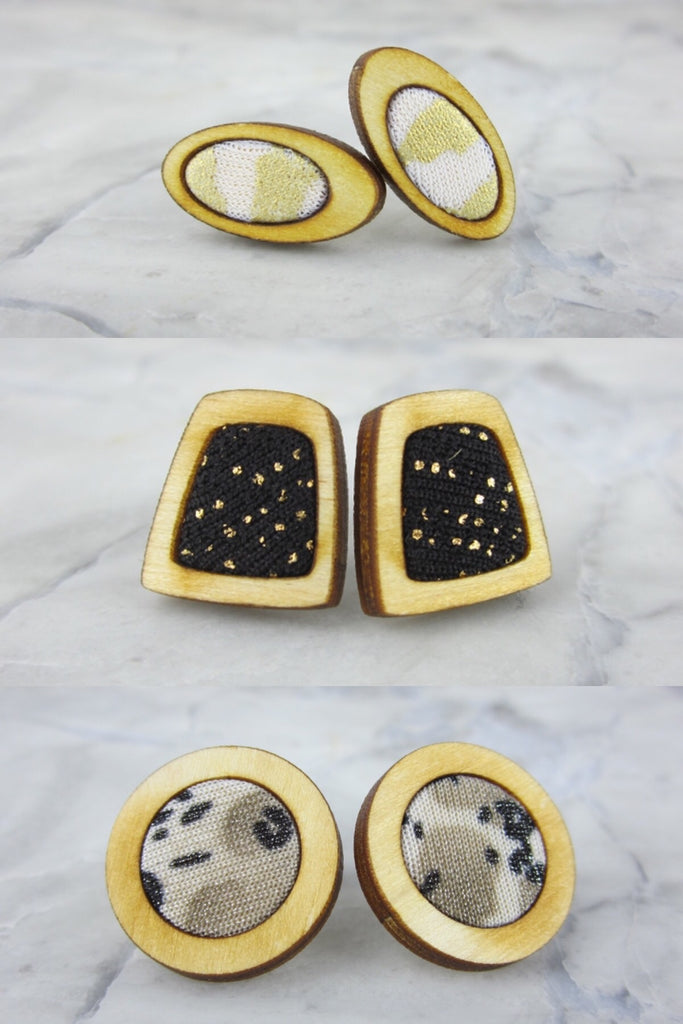 Wood/Fabric Stud Earring Set - Lunar Light {ONE-OF-A-KIND}