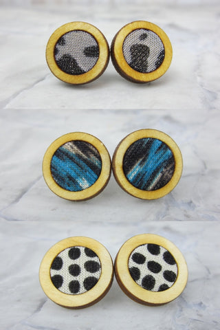 Wood/Fabric Stud Earring Set - Snowbank {ONE-OF-A-KIND}