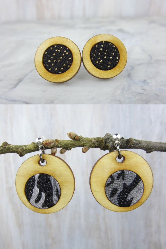 Wood/Fabric Dangle Earring Set - Cosmic Crush {ONE-OF-A-KIND}
