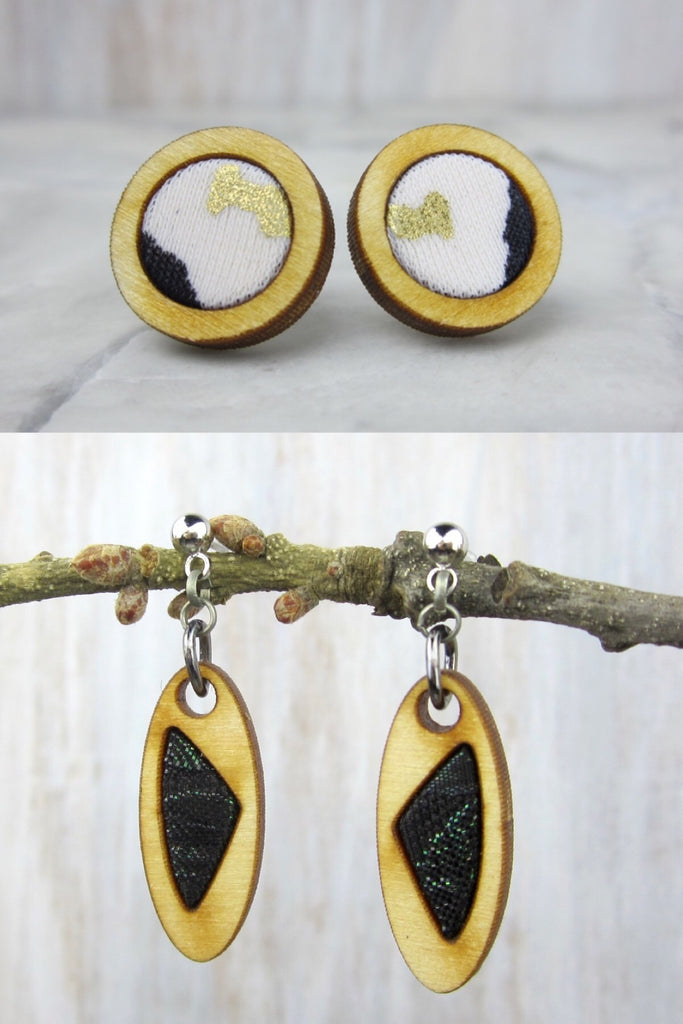 Wood/Fabric Dangle Earring Set - Supernova {ONE-OF-A-KIND}