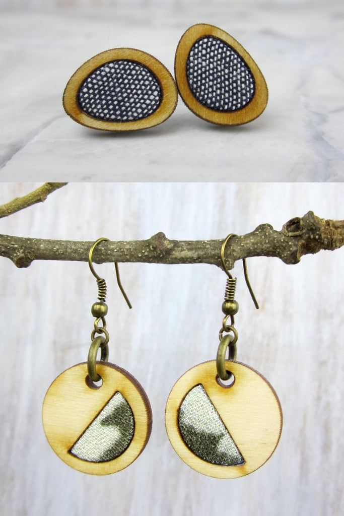 Wood/Fabric Dangle Earring Set - Mossy Stone {ONE-OF-A-KIND}