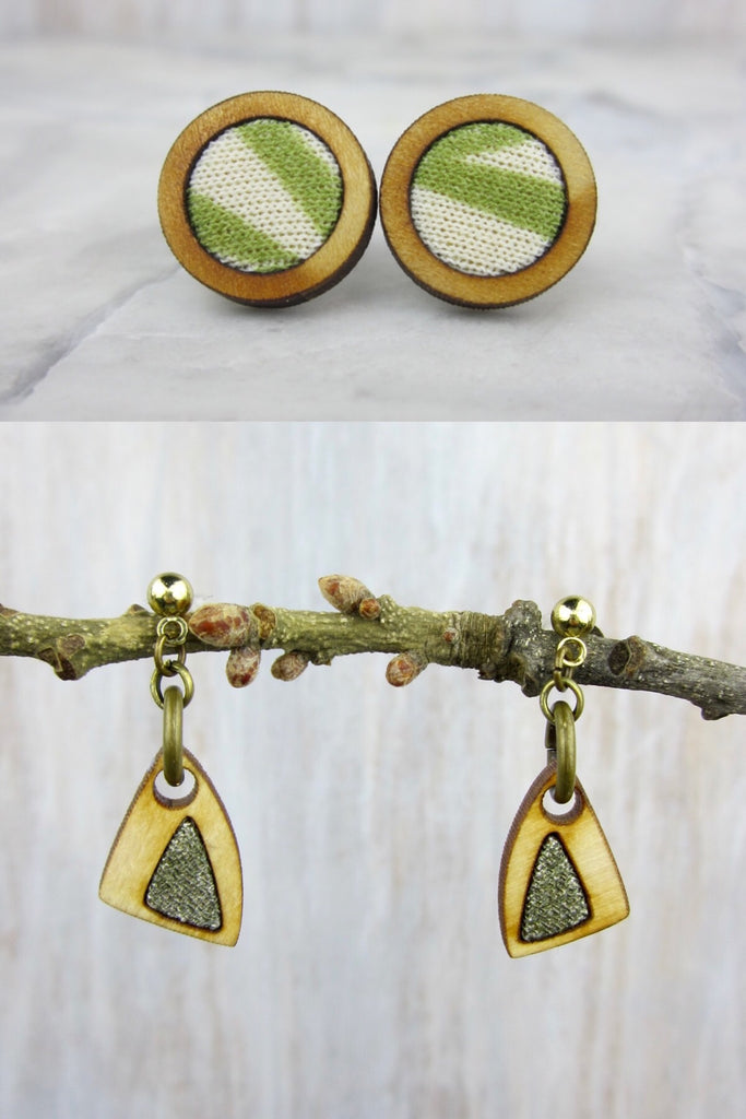 Wood/Fabric Dangle Earring Set - Olive Branch {ONE-OF-A-KIND}