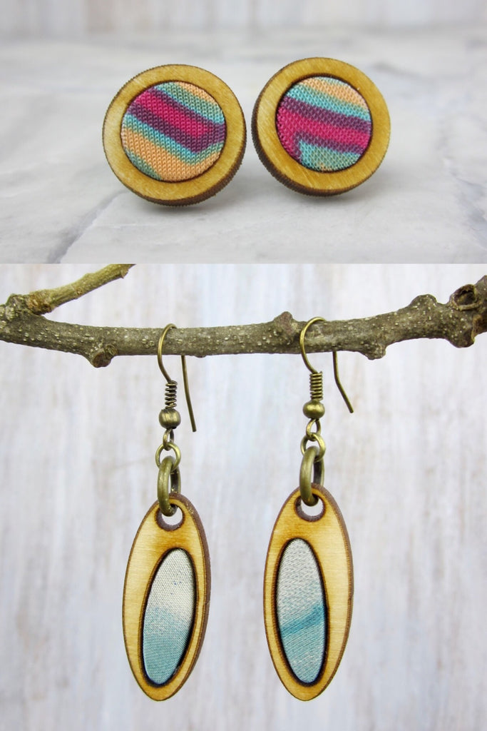 Wood/Fabric Dangle Earring Set - Summer Oasis {ONE-OF-A-KIND}