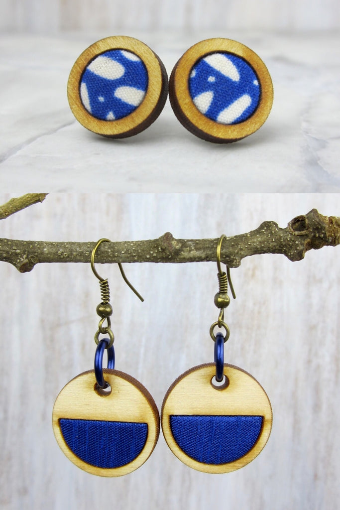Wood/Fabric Dangle Earring Set - True Blue {ONE-OF-A-KIND}