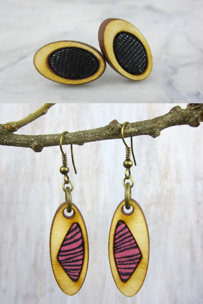 Wood/Fabric Dangle Earring Set - Fierce Finesse {ONE-OF-A-KIND}