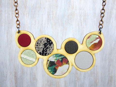 Wood/Fabric Necklace - Fall Circles {ONE-OF-A-KIND}