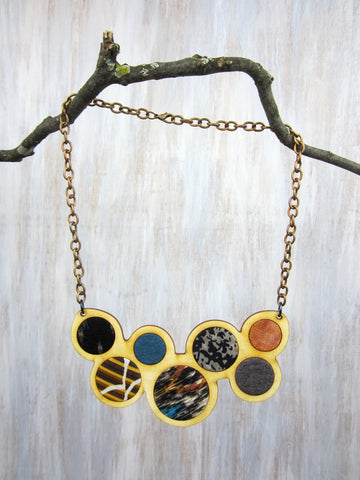 Wood/Fabric Necklace - Earth Circles {ONE-OF-A-KIND}