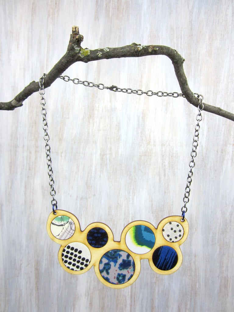 Wood/Fabric Necklace - Water Circles {ONE-OF-A-KIND}