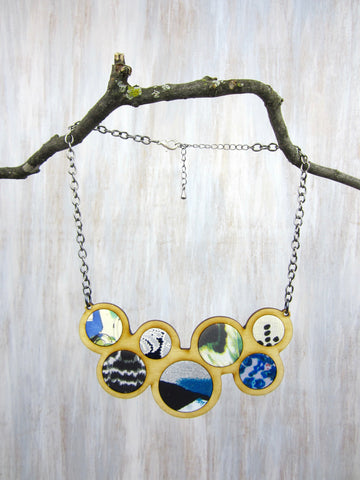 Wood/Fabric Necklace - Mountain Circles {ONE-OF-A-KIND}