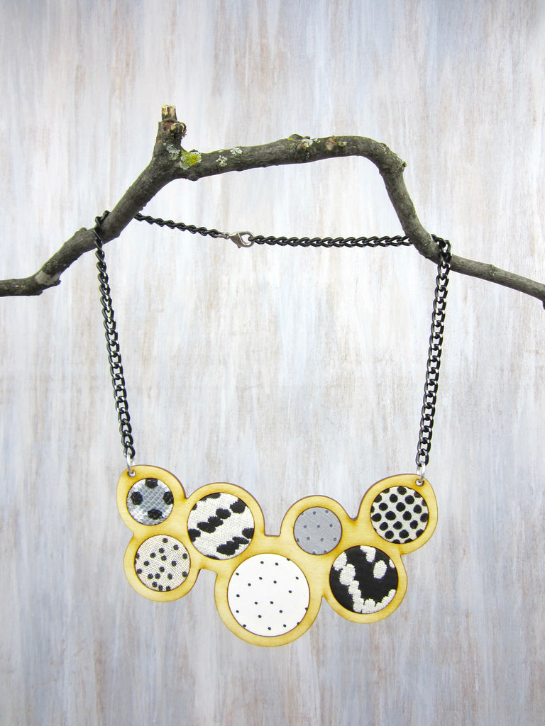 Wood/Fabric Necklace - Dot & Circles {ONE-OF-A-KIND}