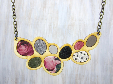 Wood/Fabric Necklace - Pink Flower Pedals {ONE-OF-A-KIND}