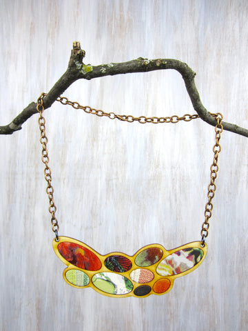 Wood/Fabric Necklace - Green Flower Pedals {ONE-OF-A-KIND}