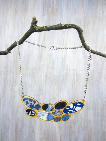 Wood/Fabric Necklace - Blue Ovals {ONE-OF-A-KIND}