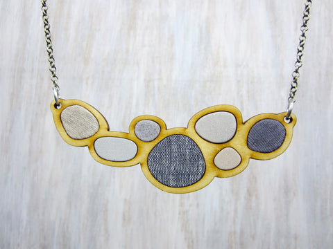 Wood/Fabric Necklace - Grey River Stones {ONE-OF-A-KIND}
