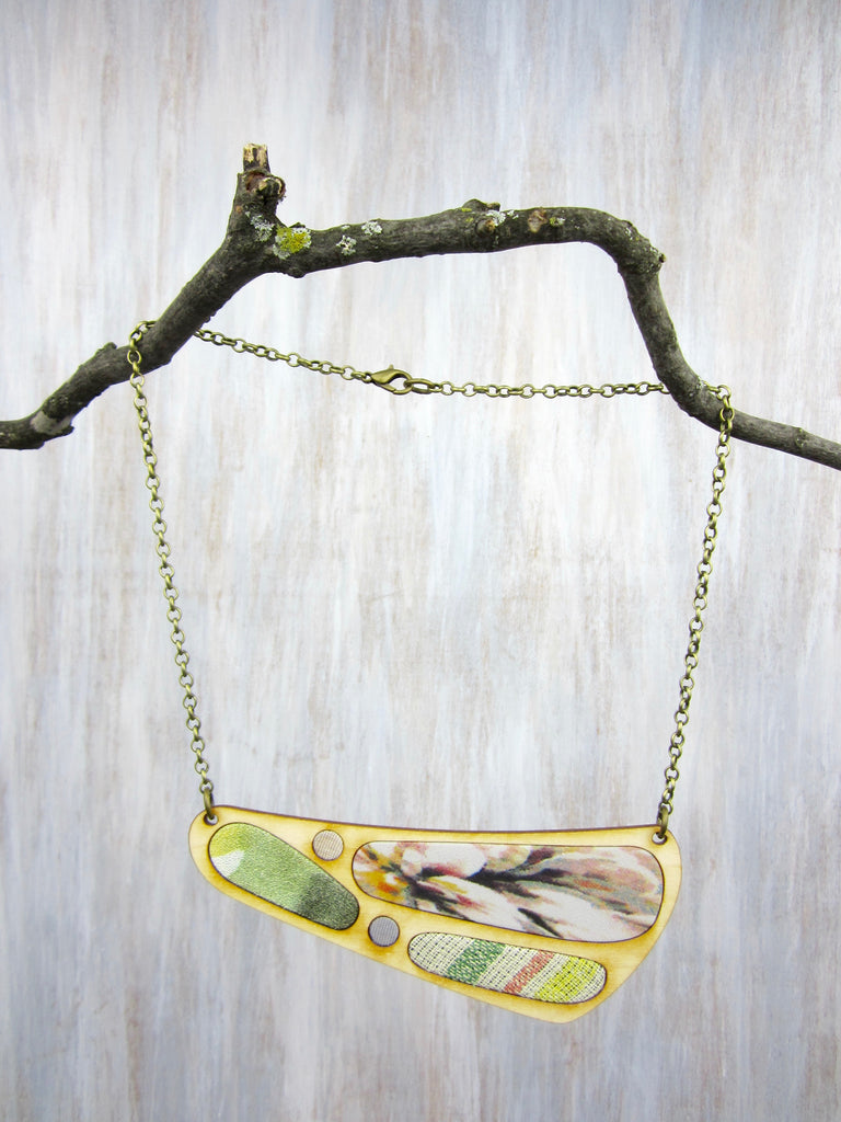 Wood/Fabric Necklace - Spring Time {ONE-OF-A-KIND}