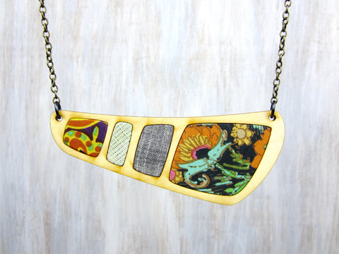 Wood/Fabric Necklace - Jungle {ONE-OF-A-KIND}
