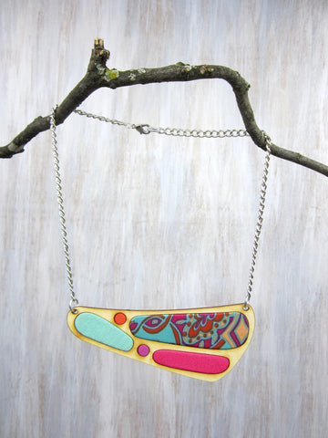 Wood/Fabric Necklace - Tropic Tide {ONE-OF-A-KIND}