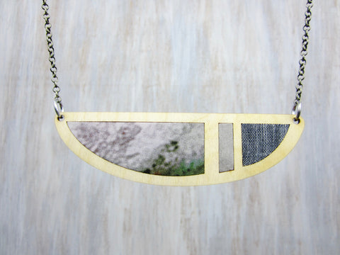 Wood/Fabric Necklace - Stone Crescent {ONE-OF-A-KIND}