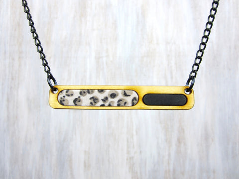 Wood/Fabric Necklace - Leopard Bar {ONE-OF-A-KIND}