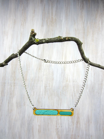 Wood/Fabric Necklace - Teal Bar {ONE-OF-A-KIND}