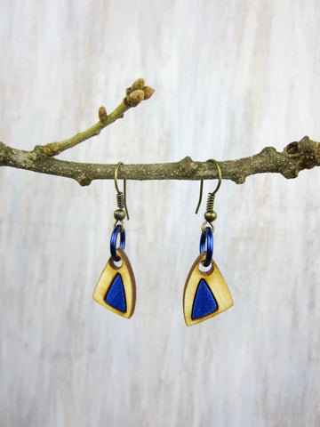 Wood/Fabric Dangle Earrings - Blue Triangles
