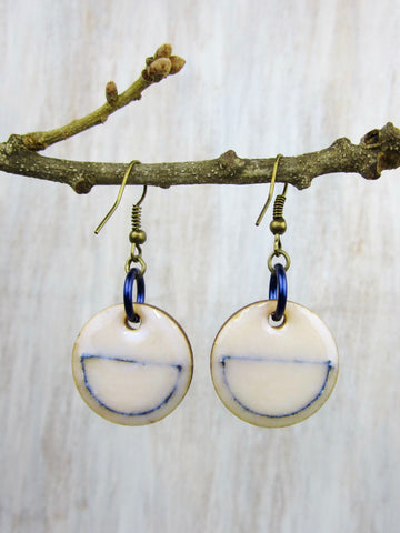 Wood/Fabric Dangle Earrings - Blue Circles