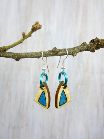Wood/Fabric Dangle Earrings - Teal Triangles