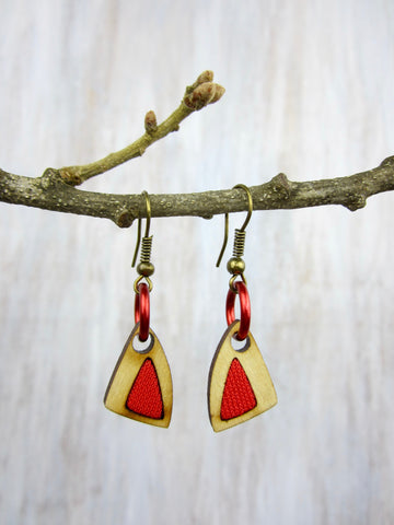 Wood/Fabric Dangle Earrings - Red Triangles