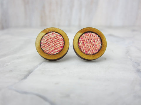 Wood/Fabric Stud Earrings - Candy Circles {ONE-OF-A-KIND}