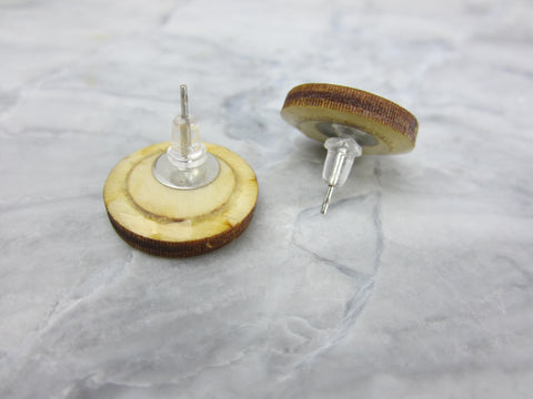 Wood/Fabric Stud Earrings - Cotton Circles {ONE-OF-A-KIND}