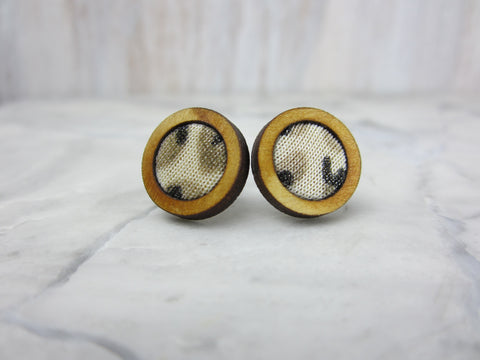 Wood/Fabric Stud Earrings - Desert Circles {ONE-OF-A-KIND}