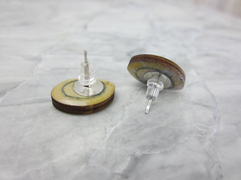 Wood/Fabric Stud Earrings - Light Ovals {ONE-OF-A-KIND}
