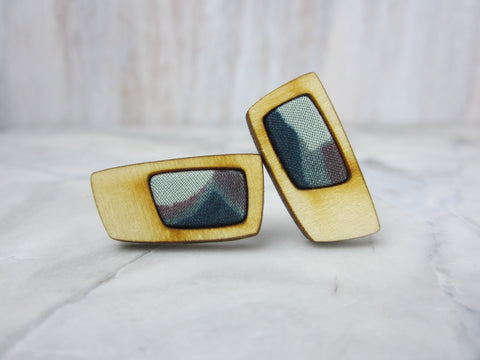 Wood/Fabric Stud Earrings - Mountain Blocks {ONE-OF-A-KIND}