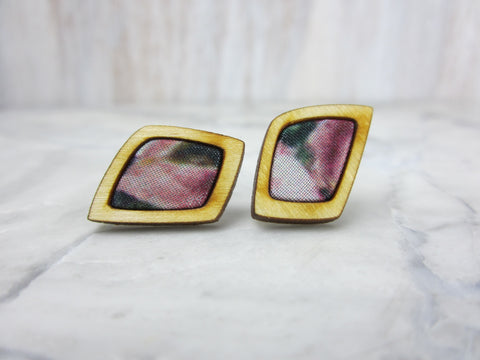 Wood/Fabric Stud Earrings - Floral Diamonds {ONE-OF-A-KIND}
