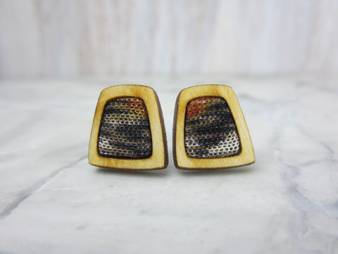 Wood/Fabric Stud Earrings - Off Road Squares {ONE-OF-A-KIND}