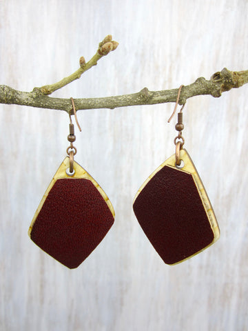 Wood/Fabric Dangle Earrings - Wave Diamonds {ONE-OF-A-KIND}