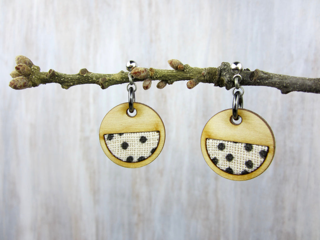 Wood/Fabric Dangle Earrings - Dot Circles {ONE-OF-A-KIND}