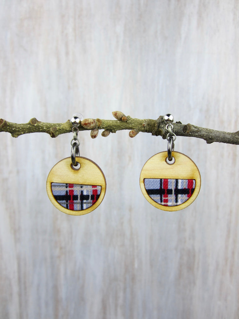Wood/Fabric Dangle Earrings - Plaid Circles {ONE-OF-A-KIND}