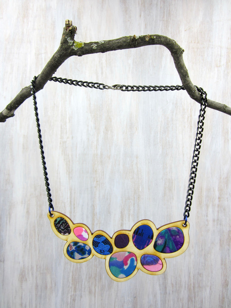Wood/Fabric Necklace - Purple Flower Pedals {ONE-OF-A-KIND}
