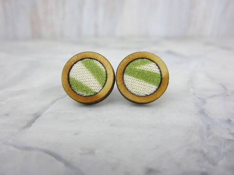 Wood/Fabric Stud Earrings - Aloe Circles {ONE-OF-A-KIND}