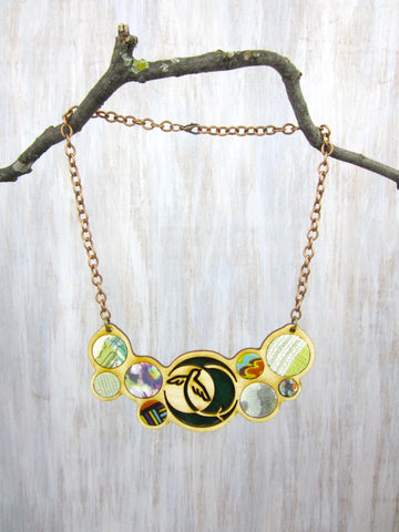 Wood/Fabric Necklace - Evergreen Bird {ONE-OF-A-KIND}