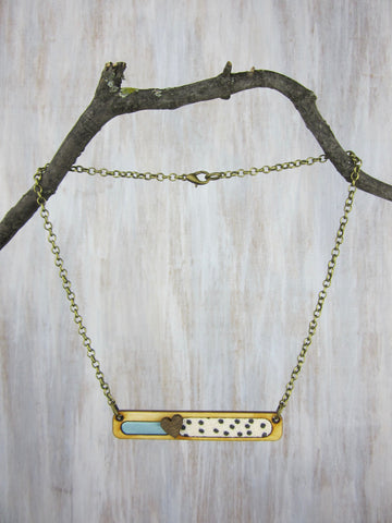 Wood/Fabric Necklace - Dotted Heart Bar
