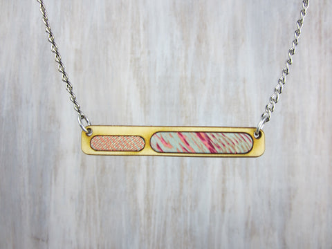 Wood/Fabric Necklace - Cotton Candy Bar {ONE-OF-A-KIND}