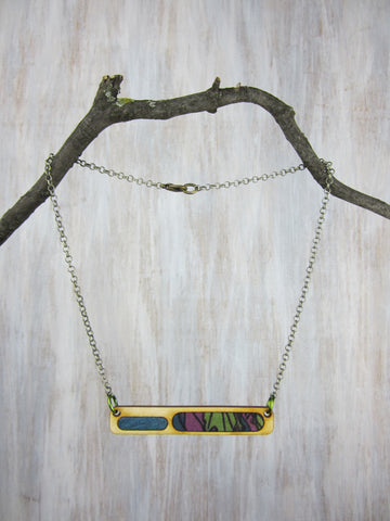 Wood/Fabric Necklace - Jungle Bar {ONE-OF-A-KIND}