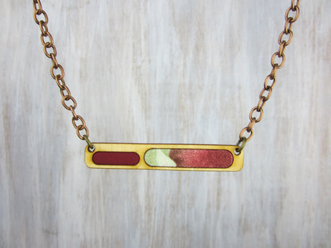 Wood/Fabric Necklace - Cabernet Bar {ONE-OF-A-KIND}