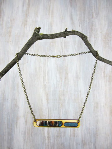 Wood/Fabric Necklace - Earth Bar {ONE-OF-A-KIND}